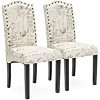 Best Choice Products Set of 2 Script Fabric Padded Dining Chairs w/ Nail Head Trim, Wood Legs - Beige