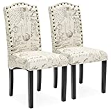 Best Choice Products Set of 2 Script Fabric Padded Dining Chairs w/Nail Head Trim, Wood Legs - Beige