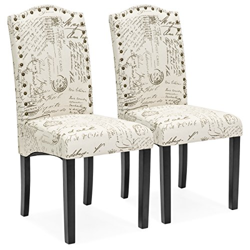 Best Choice Products Set of 2 Script Fabric Padded Dining Chairs w/Nail Head Trim, Wood Legs – Beige