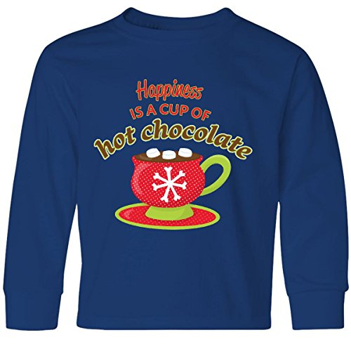 811 Cocoa (Inktastic Big Boys' Happiness is a Cup of Hot Chocolate Youth Long Sleeve T-Shirt Youth Small Royal)
