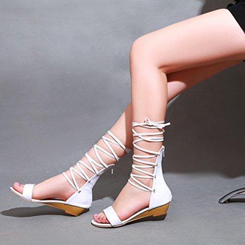 à 2 Romain Blanc pour Découpées Chaussures Femme YOUJIA Compensées Sandales d'été Gladiateur Lacets wnFtTxHYP