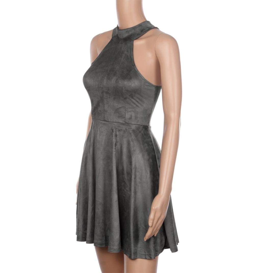 Hot Dress! AMA(TM) Women Summer Sexy Halter Sleeveless Evening Party Backless Hollow Out A-Line Dress (S, Gray) by AMA(TM) (Image #3)