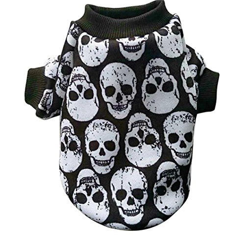 Pet Costume HCFKJ Pet Dog PuppDog Cat Pet Clothes Skull Apparel T-Shirt Clothes Cold Weather Jacket Skull Sweatshirts (S, White) (Sweatshirt Pinscher Adult Hoody)
