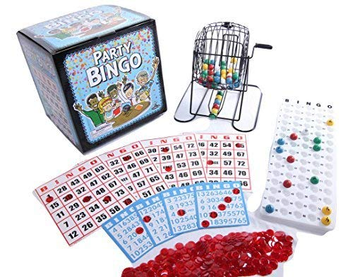 Regal Games Jumbo Party Bingo Set with Jumbo 9 x 8 Easy Read Bingo Cards and Large 12 Inch Rotary Cage -
