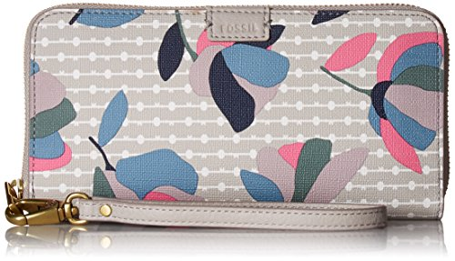(Fossil Emma RFID Large Zip Wallet, Floral Multi/White)