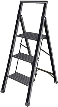 Escalera plegable taburete banqueta Escalera plegable delgada de aluminio liviano, estante de escalera interior negro con escalones anchos y pasamanos, soporte 150 kg (Size : 3 step): Amazon.es: Bricolaje y herramientas