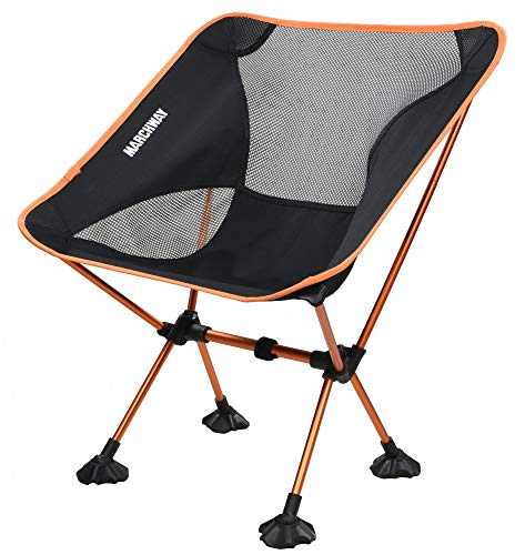 Folding Camping Chair with Large Feet, Portable Compact for Outdoor Camp, Travel, Beach, Picnic, Festival, Hiking, Lightweight Backpacking (Orange-New) ()