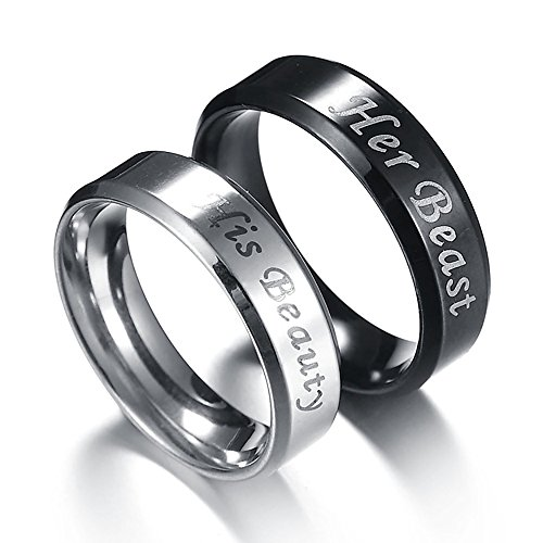 Couples Rings His or Hers Matching Set Titanium Wedding Engagement Bands comfort fit 8mm (Men, Black, Size 8) (Set Ring Hers)