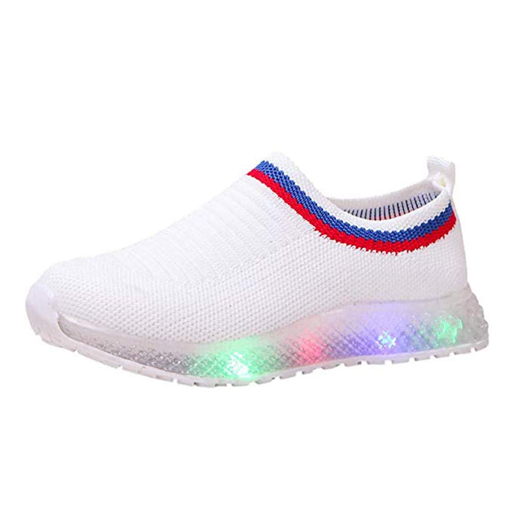Kids LED Light Up Shoes Baby Boys Girls Soft Knit Slip-on Running Flashing Sneakers Lightweight Barefoot Sock Shoes White by KINGLEN Baby shoes