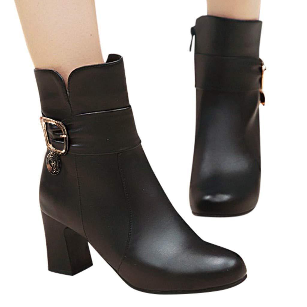 Cute Women Tassel Fringe Ankle Boots High Heel Bootie Shoes Black by Frunalte Women Shoes