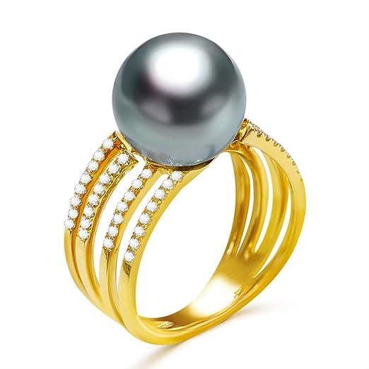 Anillo de Compromiso de Perlas de Oro Macizo de 14 k Anillo de Perlas de Tahití Negro