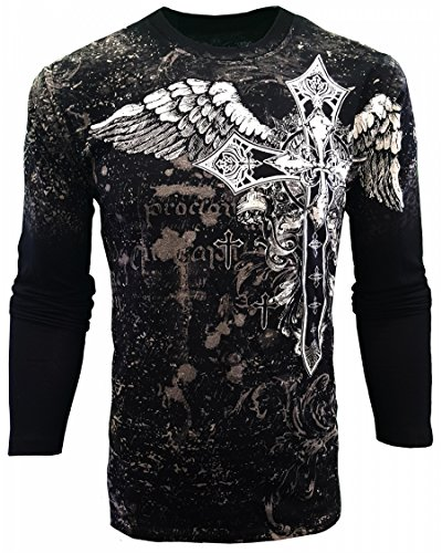 (Konflic USA Cross Winged Graphic Men's Long Sleeve White 2XL)
