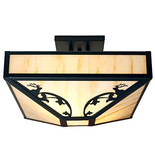 Steel Partners Lighting BAV3530-B BAVARIAN ELK Four Post Drop Ceiling Mount with Amber Mica Lens, Black Finish