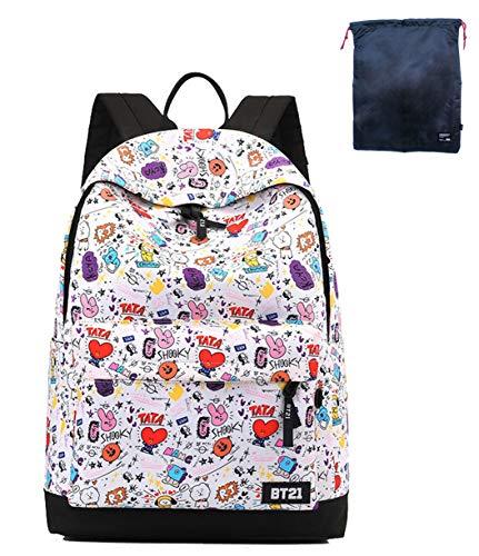 Timmor Korean Casual Wave Backpack, Girl's Backpack, Teen Backpack, Junior High School Unisex School Bag. (comic)