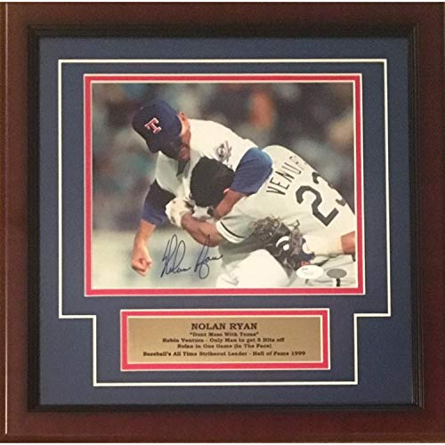 Nolan Ryan Autographed Texas Rangers Signed Framed 8x10 Photo Fight Punching Robin Ventura JSA COA ()