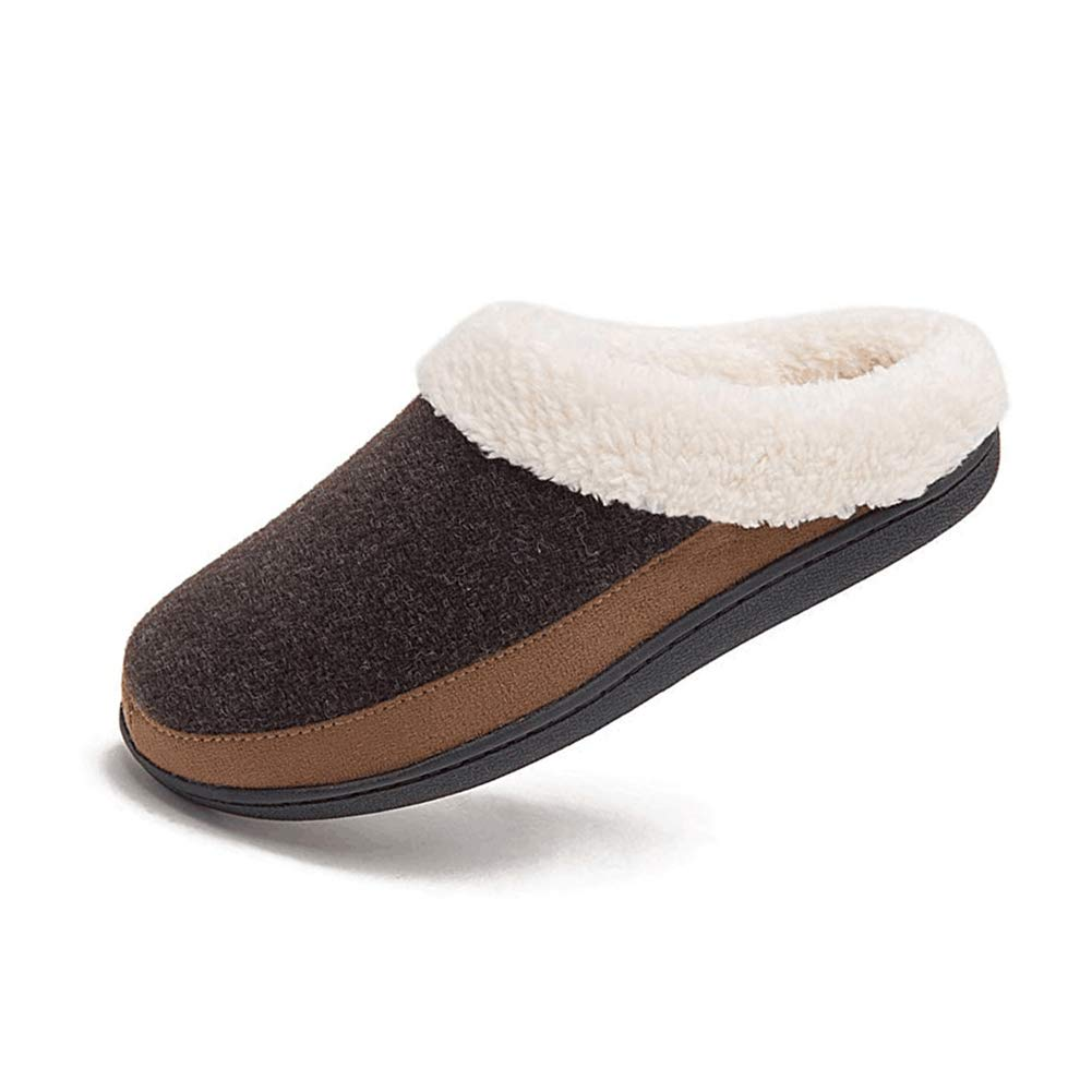QYTBM Mens Two-Tone Memory Foam Indoor Outdoor House Slipper