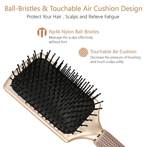 SUPRENT Velvet Touch Paddle Hair Brush Detangling Brush For Straightening Smoothing Hair GOLD