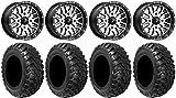 "Bundle - 9 Items: MSA Machined Brute 14"" UTV Wheels 28"" Kanati Mongrel Tires [4x137 Bolt Pattern 12mmx1.5 Lug Kit]"