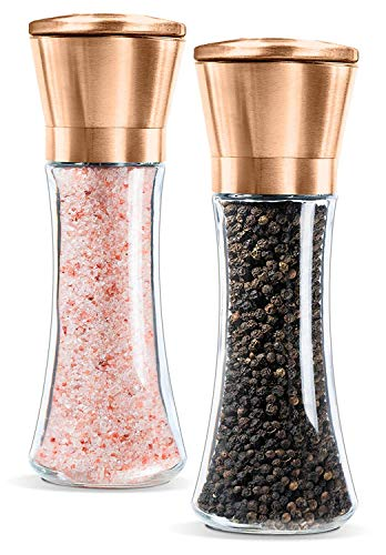 Premium Salt and Pepper Grinder Set of 2- Brushed Pepper Mill and Salt Mill, 6 Oz Glass Tall Body, 5 Grade Adjustable Ceramic Rotor- Salt and Pepper Shakers by Levav (Copper)