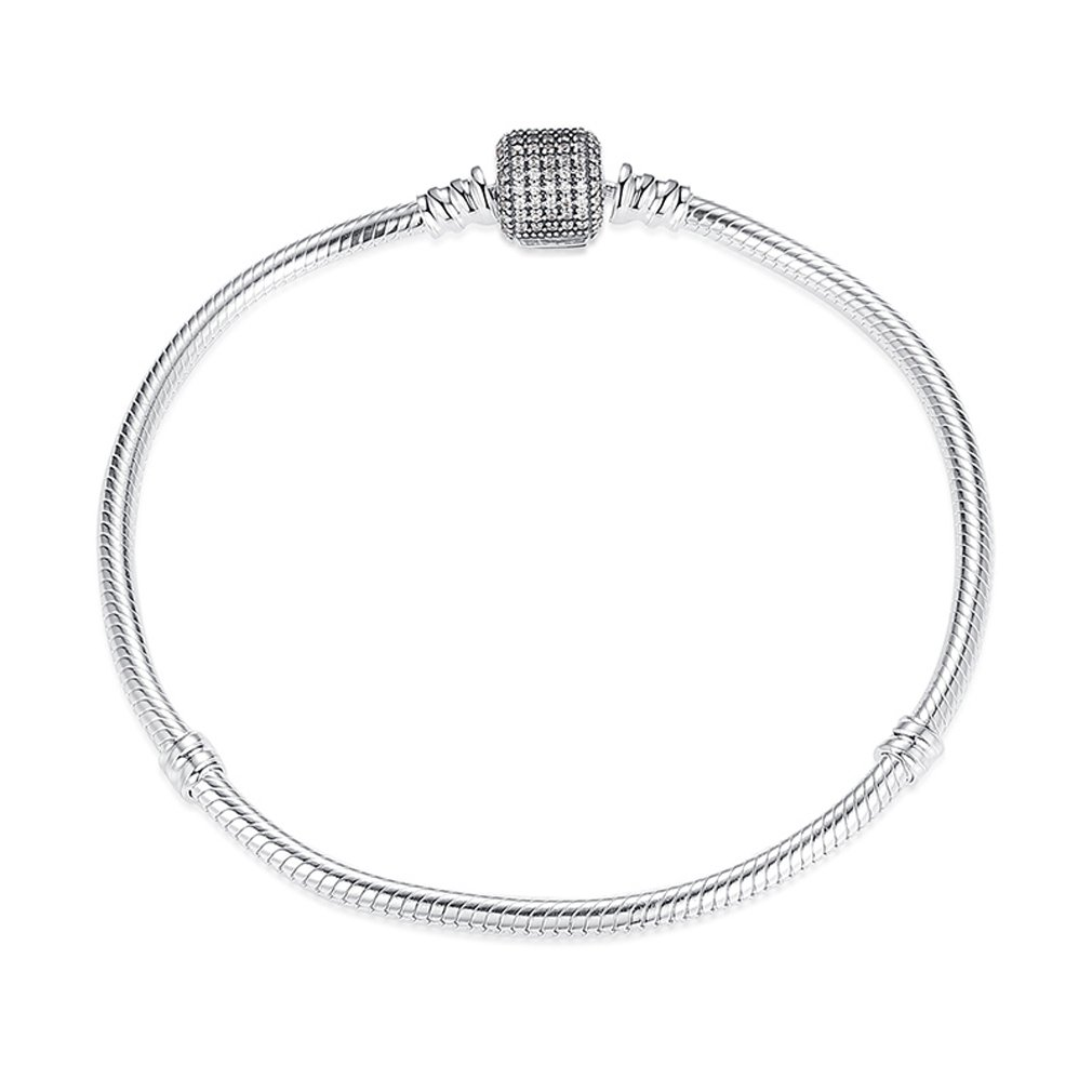 Everbling w/Signature Clasp Snake Chain 925 Sterling Silver Charm Bracelet 19CM