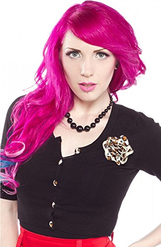 Black Leopard Cropped Belle Cardigan from Sourpuss Clothing Medium (Rockabilly Womens Cardigan)