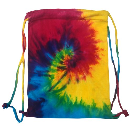 Colortone Tie Dye Sports Drawstring Tote Bag (One Size) (Reactive Rainbow)