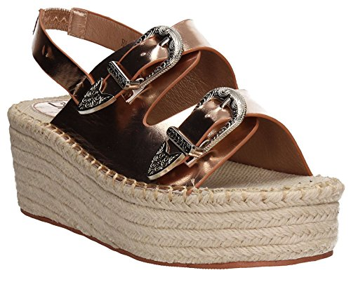 Metallic Beach Womens Shoes Raffia Summer Rose SwankySwans Wedge Heels Wedges Ayla Copper Gold Copper 6x5twYBq