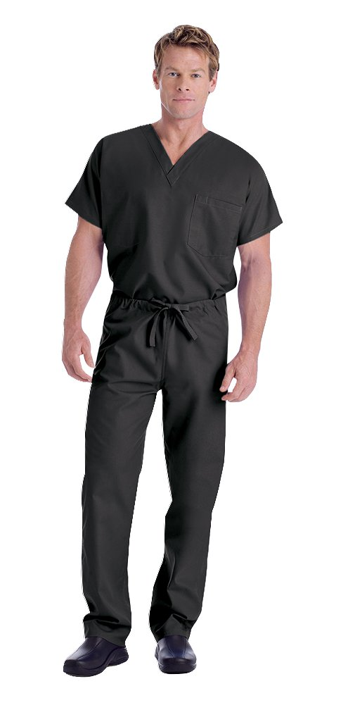 Landau Unisex 7502 V-neck Scrub Top & 7602 Scrub Pant Medical Uniform Scrub Set (Black - Large)