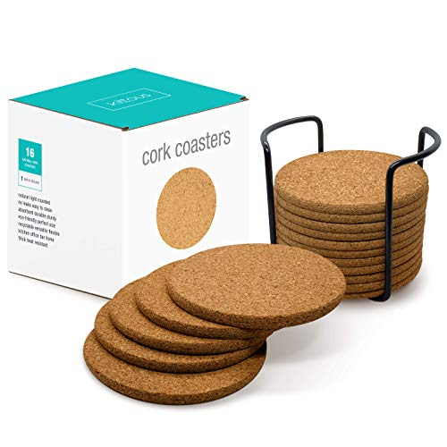 """16 Natural Cork Round Drink Coasters Set with Metal Holder - 4"""" Diameter 1/5"""" Thick Absorbent Reusable Circles - Tabletop Protection: Cold, Warm, Whiskey, Wine, Beer, Coffee, Beverage, Bar, Kitchen"""