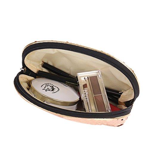 Le Champion Junlinto Purse Pochette Cosmétique Rangement Étui De Zipper Crayon Bag Femmes Sequin Champage Maquillage 6wHq6Or