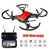 Dirance 1802 RC Quadcopter Drone, 720P Wide Angle HD Camera WIFI FPV Helicopter, Altitude Hold & One Key Return (Red)