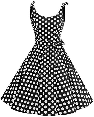 Bbonlinedress 1950's Bowknot Vintage Retro Polka Dot Rockabilly Swing Dress Black White BDot L