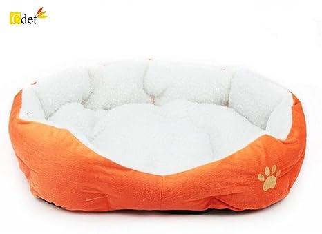 Cdet Cama para Mascotas Redonda o de Forma Oval dimple Fleece Nesting Perro Cueva para Gatos