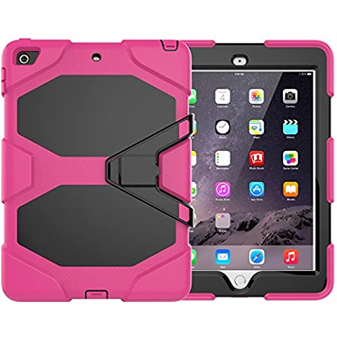 New iPad 9.7 2017 case, Jessica 3in1 PC+Silicon Heavy Duty Kickstand Shockproof Full-body Rugged Protective Case with Built-in Screen Protector for Apple New iPad 9.7 inch (2017 (Urban Armor Ipad 3)