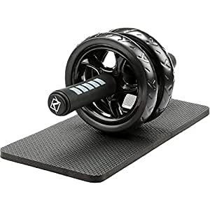 Abdominal Exercise Roller with Knee Pad Mat - Foam Handles Dual Wheel Body Fitness Strength Training Gym Tool for Men/Women