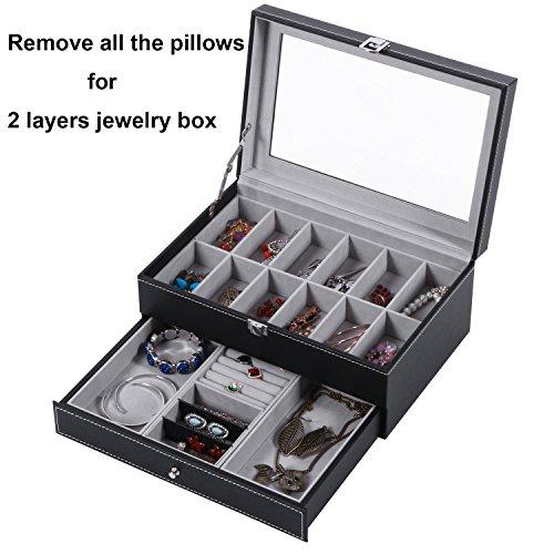 BEWISHOME Watch Box Organizer Case 12 Mens Jewelry Display Drawer w/Adjustable Tray Glass Top Black PU Leather SSH02B by BEWISHOME (Image #2)