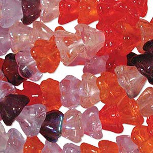 Melonberry Mix 6x8mm Flower Cone 45 Bead Cap Czech Glass Beads
