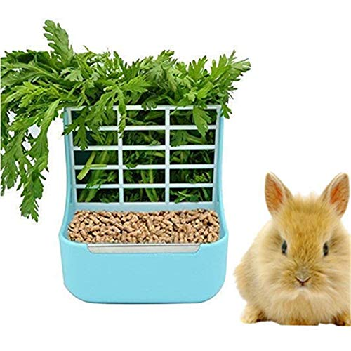 - zswell Hay Food Bin Feeder, Hay and Food Feeder Bowls Manger Rack for Rabbit Guinea Pig Chinchilla and Other Small Animals (Blue)