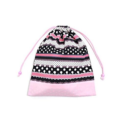 Armonia polka dot e pizzo (grande formato), abbigliamento da palestra borsa cambio nastro di vestiti cordoncino facilmente (Nero) x rosa Ox made in Japan N3362900 (japan import)