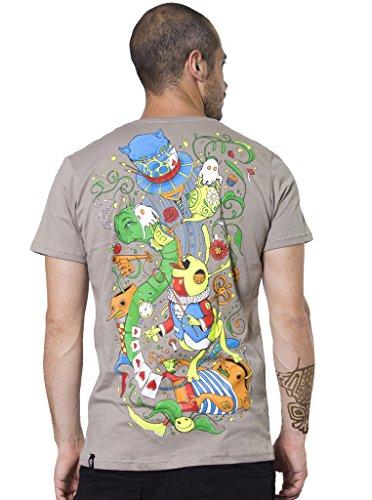 Alice in Wonderland Psychedelic Top - Fine Print Cotton T-Shirt for Men in Color Rock - Medium -