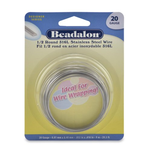 Beadalon Half Round Wire 316L Stainless Steel 20 Gauge, 9-Meter