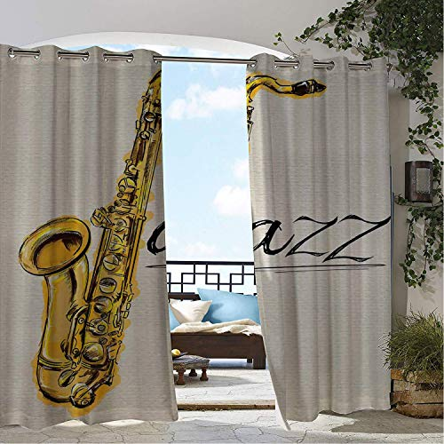 Linhomedecor Patio Waterproof Curtain Music Classic Painting of Jazz Saxophone Print on Plain Background Vintage Style Sketch Yellow Ecru Porch Grommets Adjustable Curtains 72 by 84 inch