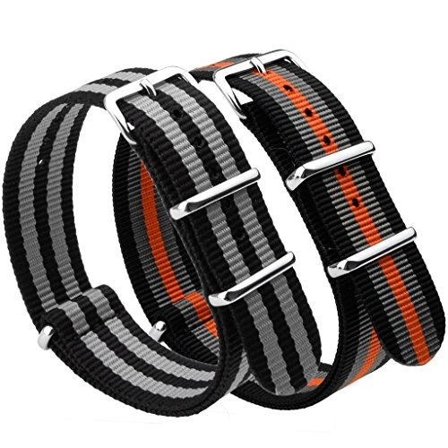 NATO Strap 2 Packs Canvas Fabric Nylon Watch Straps with Stainless Steel Buckle,Adebena Ballistic Replacement NATO Watch Bands Width 22mm Black Black/Grey and Black/Grey/Orange ()