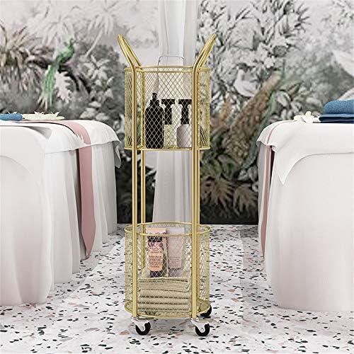 サロントロリーローリングカート 鍛造アイアンマニキュアトロリーホイールダブルレイヤー美容サロンホット染色髪のツールカートラック スタイリスト美容院 (Color : Gold, Size : 30x90cm)