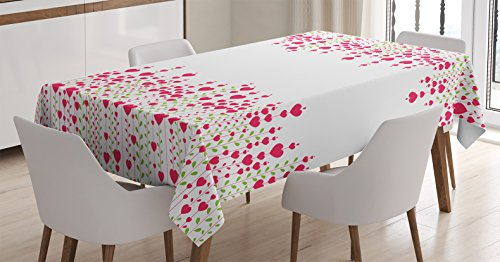 Ambesonne Love Decor Tablecloth, Heart Bouquet Plants Leaves Creativity Valentine's Flowers Decorating Stylish, Dining Room Kitchen Rectangular Table Cover, 52 X 70 Inches