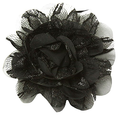 Wholesale Princess Chiffon Fabric and Lace Flower Hair Clip-Black