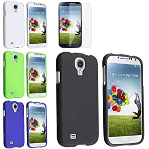 Quaroth Everydaysource Compatible with Samsung Galaxy S4 S IV i9500 Black + White + Blue + Green 4X Hard Case + Clear...