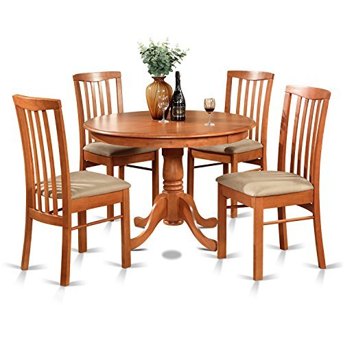 5 Piece Cherry Finish Wood - East West Furniture HART5-CHR-C 5-Piece Kitchen Table Set, Cherry Finish