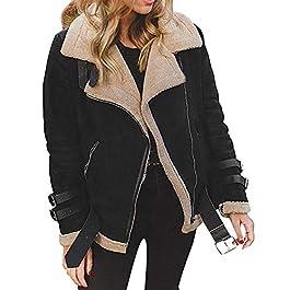 FNKDOR Women Long Sleeve Faux Fur Fleece Coat Outwear Ladies Lapel Biker Motor Aviator Jacket Coat