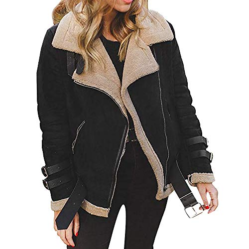 JOFOW Womens Suede Jackets Parka Lapel Fleece Collar Belted Flannel Lined Warm Loose Fashion Long Coats Plus Size XXL (S =US:0-2,Black)